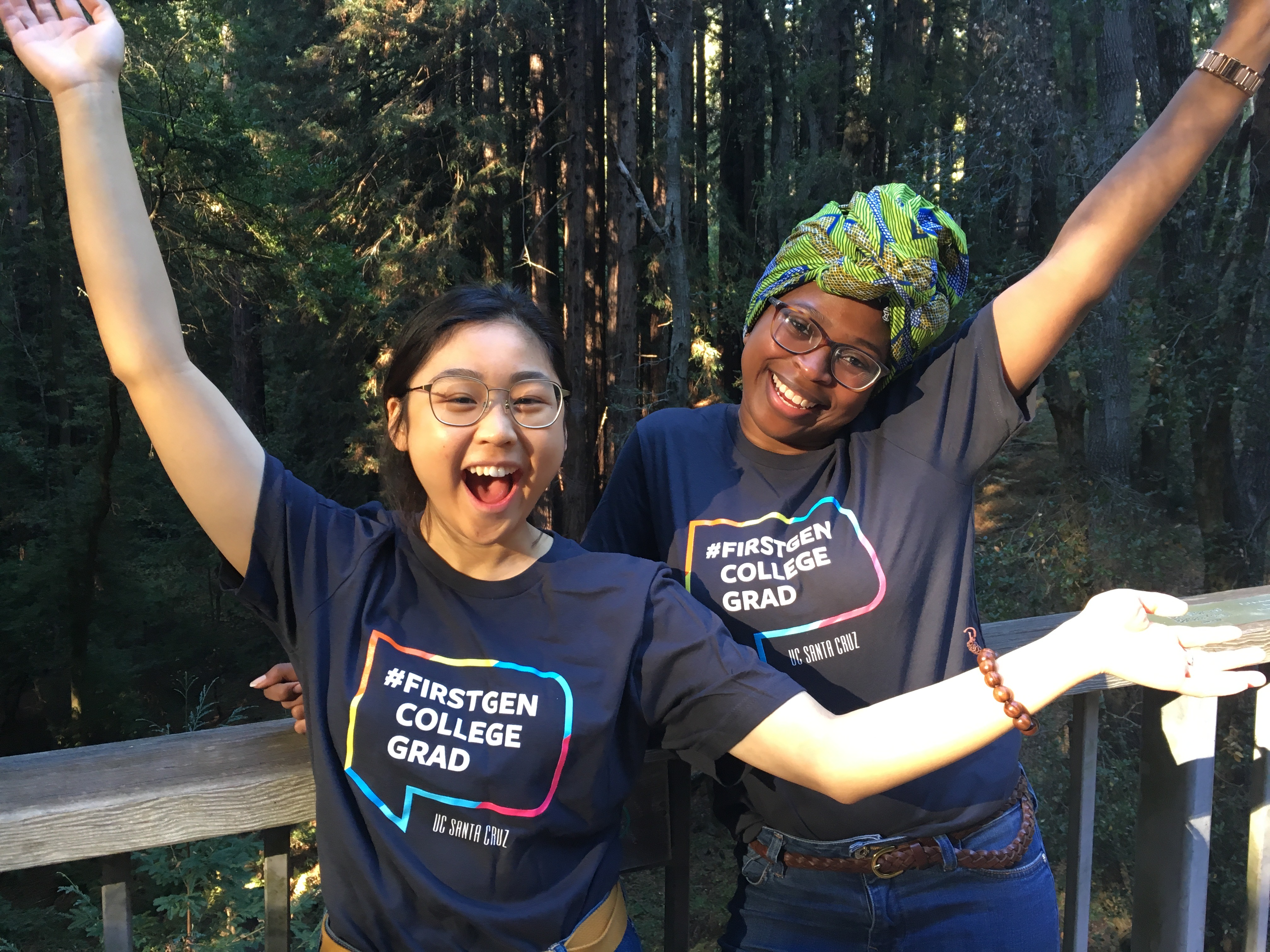 two students with first-gen t-shirts on